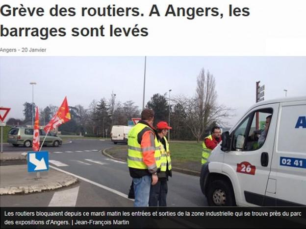 greve des routiers à Angers